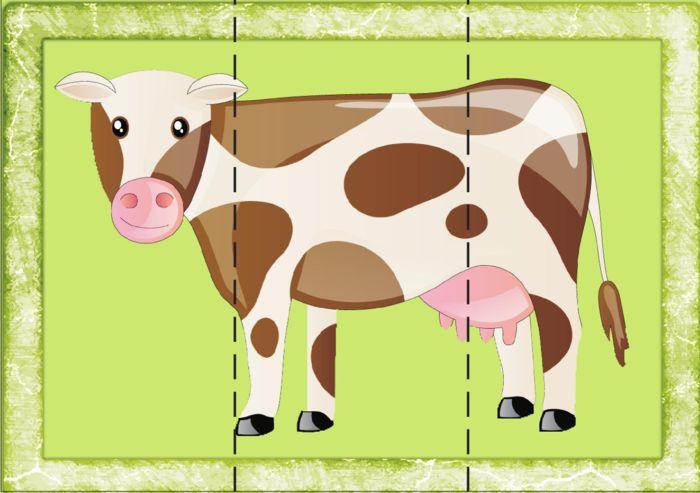 "Картинки - пазлы для малышей ""Домашние животные"" free printabes, animal puzzles for toddlers"