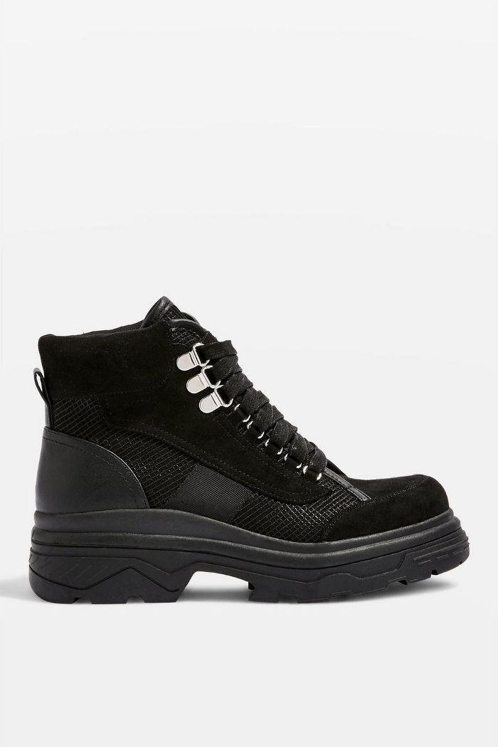 KARLA Black Chunky Lace Up Sneakers