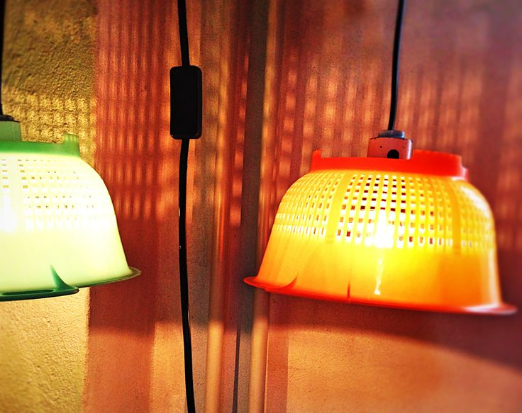 Lamp made of two sieves from the 70'
