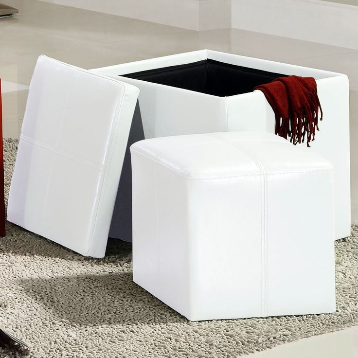 ETHAN HOME Swayne White Storage Ottoman with Mini Foot Stool | Overstock.com - 25+ Best Ideas About White Storage Ottoman On Pinterest Ikea