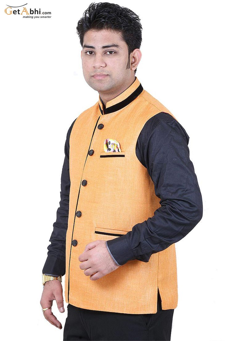 This Light Orange Color #Modi #Jacket is manufactured on Jute fabric. We present this first class style to you in men's wear collection.