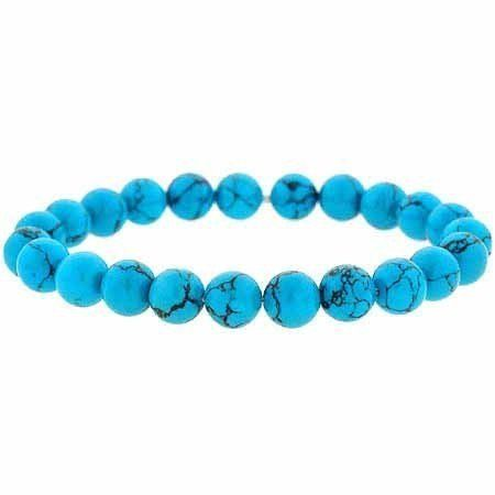 Reconstituted Blue Turquoise Stone 8mm Bead Beaded Stretch Bracelet SilverSpeck.com. Save 68 Off!. $7.99