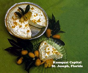 """Kumquat Refrigerator Pie  1 baked pie crust, 9 """" 1 (8 oz.) Cool Whip whipped topping 2/3 cup pureed Kumquats 1 can condensed milk 1/2 cup lemon juice  Beat condensed milk and whipped topping. Add lemon juice and beat until thickened. Add pureed kumquats, pour in pie shell and chill in refrigerator for several hours."""