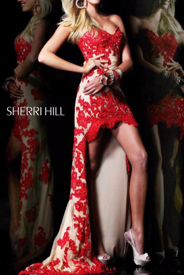 Sherri Hill Red Nude High-Low Dress 21016