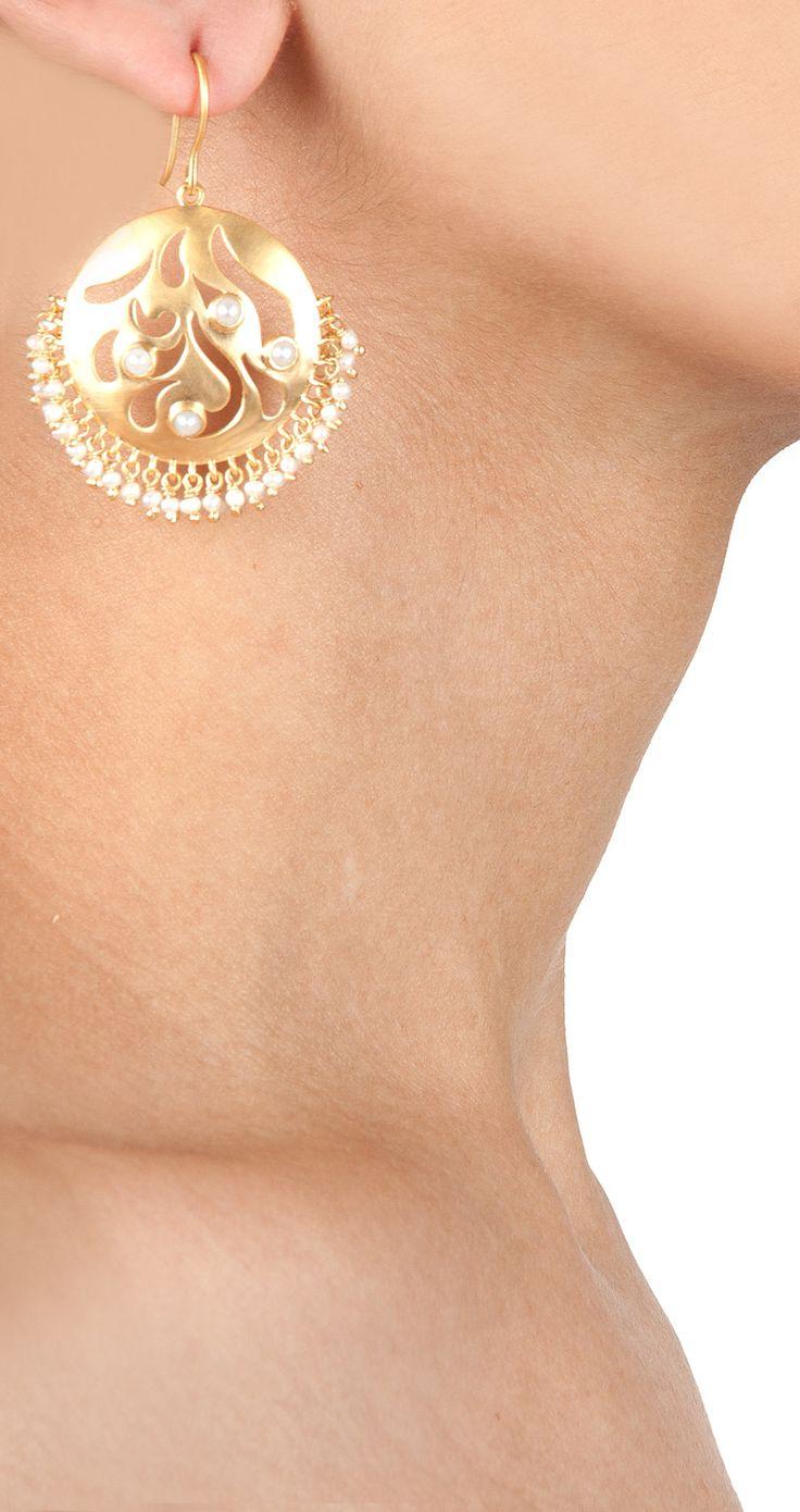 Cutwork pearl earrings by AMRAPALI. http://www.perniaspopupshop.com/designers-1/amrapali