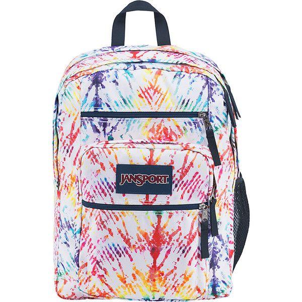 "JanSport Big Student Backpack - 17.5"" - Rainbow Tie Dye - School... ($48) ❤ liked on Polyvore featuring bags, backpacks, white, pocket backpack, padded laptop bag, shoulder strap backpack, jansport rucksack and white backpack"
