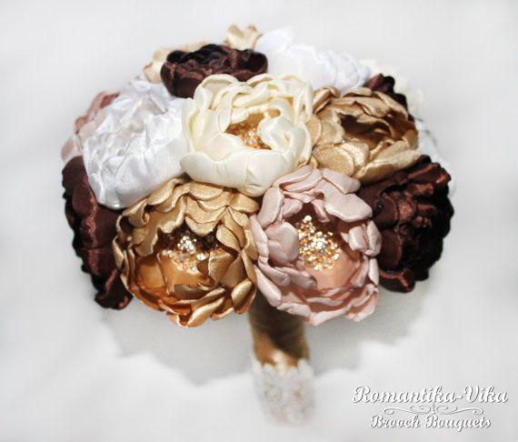 Chocolate & Gold Brooch Bouquet Wedding Bridal от RomantikaVika