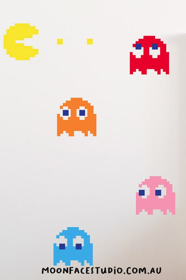 WALL STICKERS for kids rooms are a great way of styling their rooms. These Pac Man Wall Stickers are great for teens. Easy to apply. Make decorating fun!