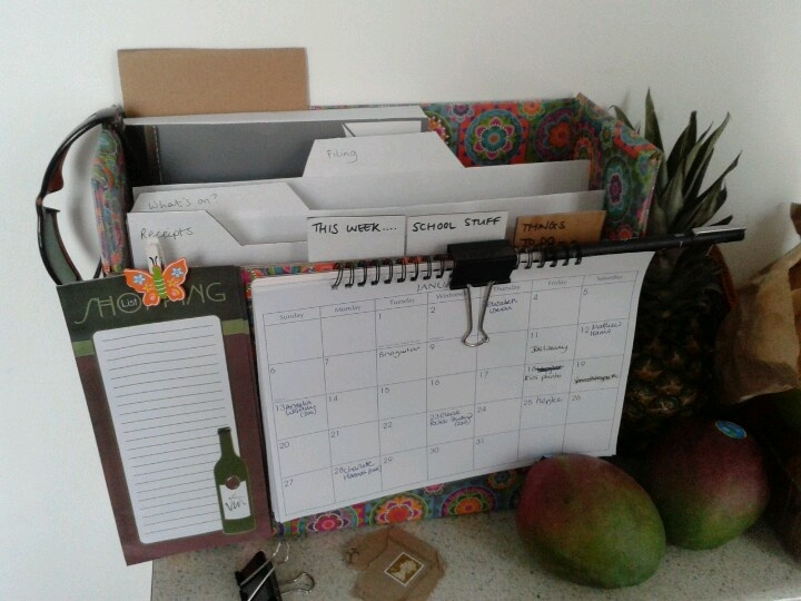 My kitchen organisation station! so pleased with this idea from pinterest, i have birthday calendar, shopping list, meal planners, cards, school stuff, to do stuff, money tracker, what's on info leaflets and household filing...all in one place. Hurray  :-) best of all- it's just a shoe box and nice paper...almost free!