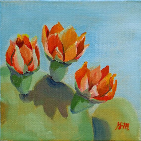 Cactus Flower Study I   4x4 original oil by GretchenMattaStudio, $50.00