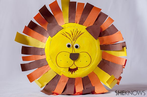 Lion animal craft | Sheknows.com Can use paint or markers to color the paper plate -- maybe even cut eye holes instead of wiggle eyes?