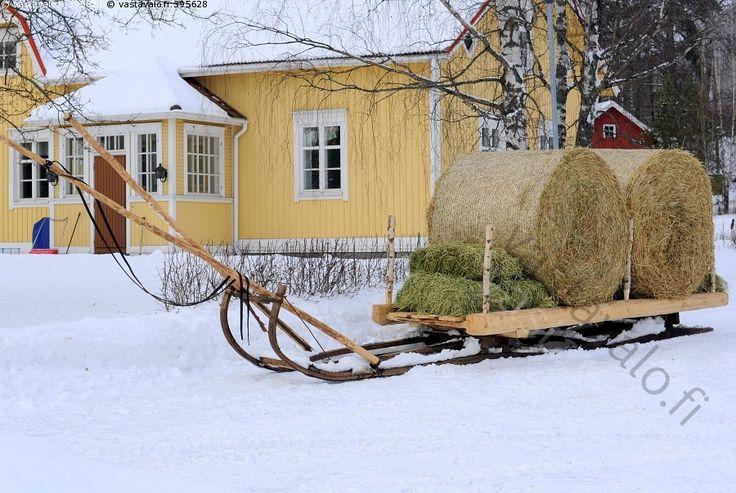 Heinäpaalit reessä - pyöröpaali heinäpaali pienkanttipaali heinät heinäkuorma paali paalit rehu reki maatalo maalaistalo piha luminen maalaiselämä