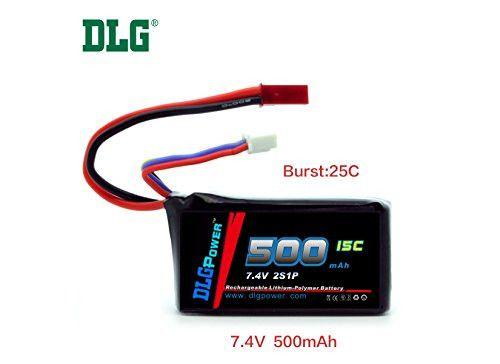 DLG 7.4V 500mAh 2S 15C Burst 25C LiPO Li-Po High-Discharge Rate Powerful Battery with JST Plug