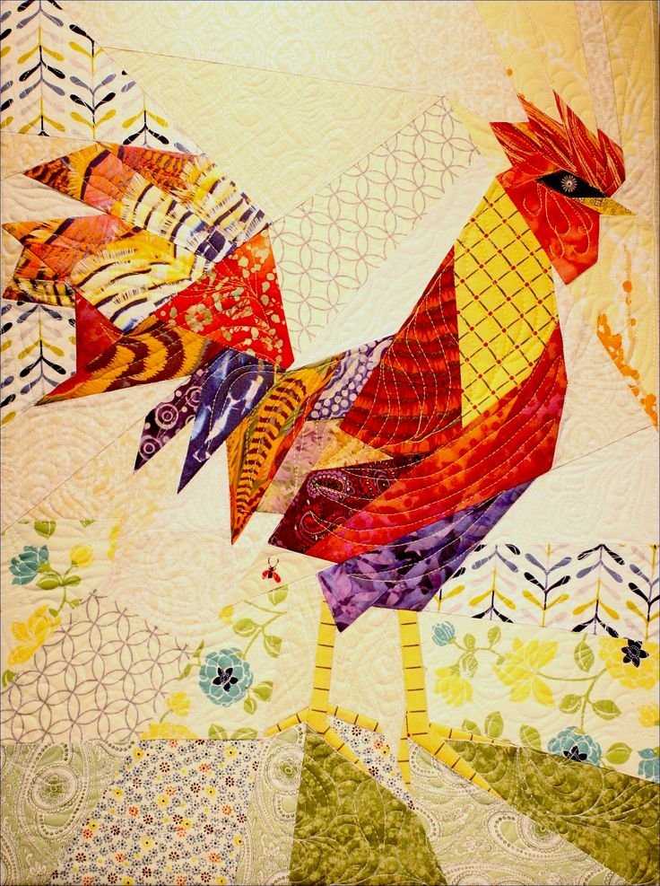 """Rooster pattern, """"Gallus Gallus"""" by Ann Shaw. Pieced and quilted by Andrew Love. andrew@j-andrew.com. Tail feather fabric available at http://www.spoonflower.com/designs/1208600"""