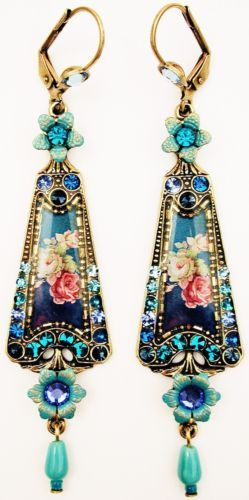 Michal-Negrin-Blue-Aqua-Turquoise-Tone-Roses-Cameo-Crystal-Earrings