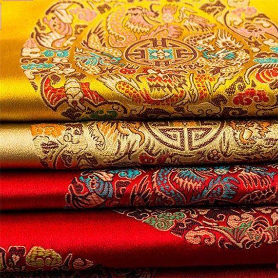 Dragonfly Embroiderd Damask Satin Brocade Fabric Jacquard DIY Costume Cushion