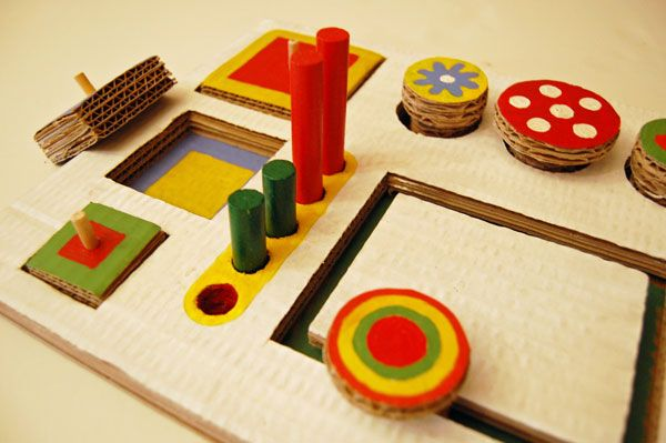 Cardboard Montessori module.CHECK THIS BLOG. Many DIY cardboard toys. See May 24, 2011
