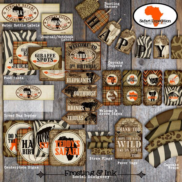 Welcome to Frosting & Ink Social Designery™!  This listing is for the Printable Safari Expedition Party Collection shown above in Orange. For the Purple version of this collection, please see this listing: https://www.etsy.com/listing/269626959/safari-party-decorations-jungle-safari  The coordinating invitation & wrap around address labels are sold separately here: https://www.etsy.com/listing/106697576/safari-invitation-jungle-safari…