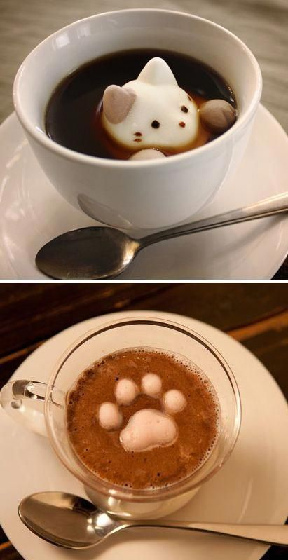 Cat shaped marshmallows!  Had to repin this just because of the cuteness factor! #latteart