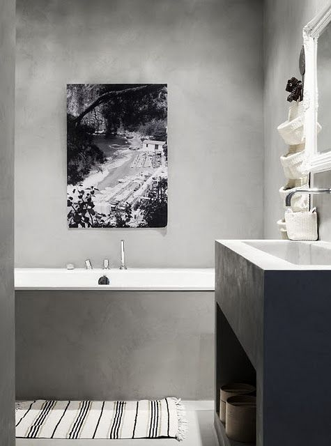 Concrete bathroom. Like the neutrality and the black and white photography.
