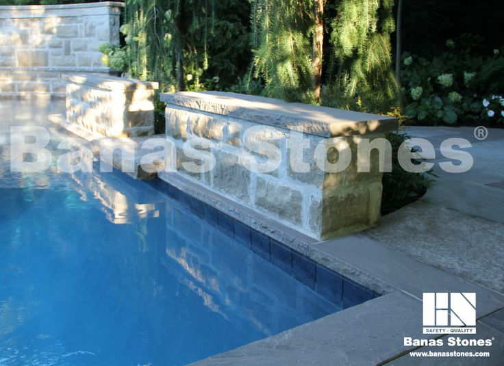 Banas Slate Grey Pool Coping Available at our store at 3500 Mavis Rd, Mississauga, ON L5C 1T8