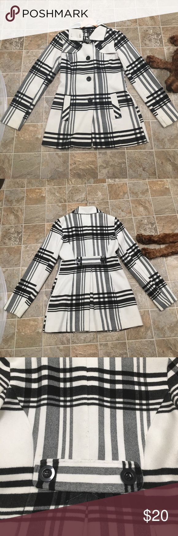 Long Plaid Coat Black and white Plaid. Preloved. Purchased at KHOLS. Some pilling on the back and one small stain on right sleeve (seen in pictures). I have had this for a few years. I get many compliments. classic piece. Sorry about the puppy in the photos, he wanted attention 😊 Jackets & Coats Pea Coats