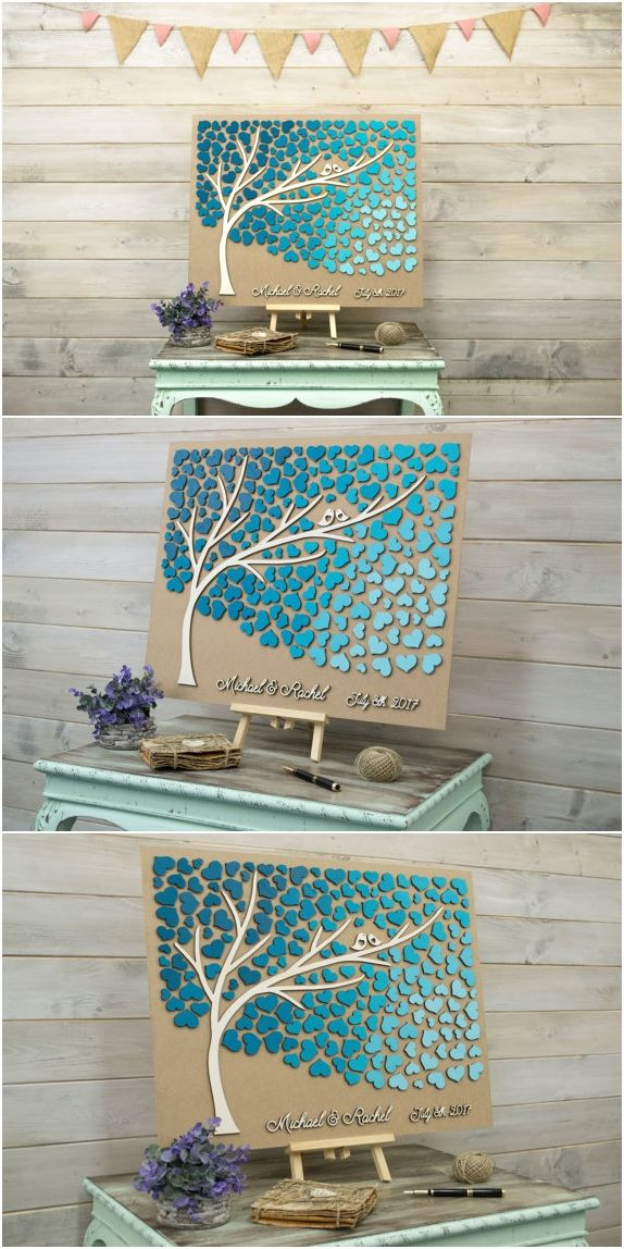 Custom guest book, Rustic guestbook, 3D Guest book, Unique guest book, Wooden guestbook, Wedding guest book ideas, Teal wedding color