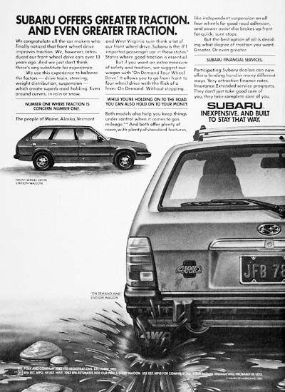 1983 Subaru Station Wagon Vintage Print Ad