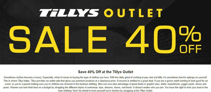 Pinned March 11th: Extra 40% off at #Tillys Outlet #TheCouponsApp