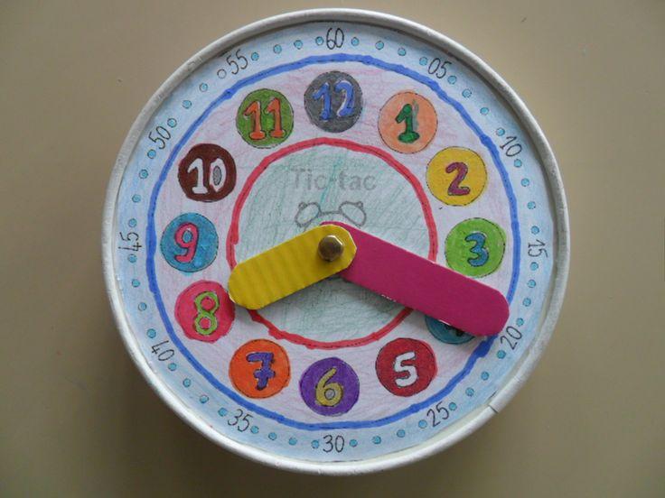 Horloge réalisée par des élèves de CP - Fond issu du blog Des p'tits riens