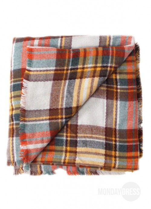 Orange Plaid Blanket Scarf | Monday Dress Boutique