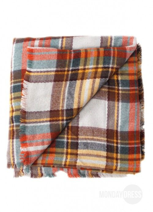 Orange Plaid Blanket Scarf | Monday Dress Boutique