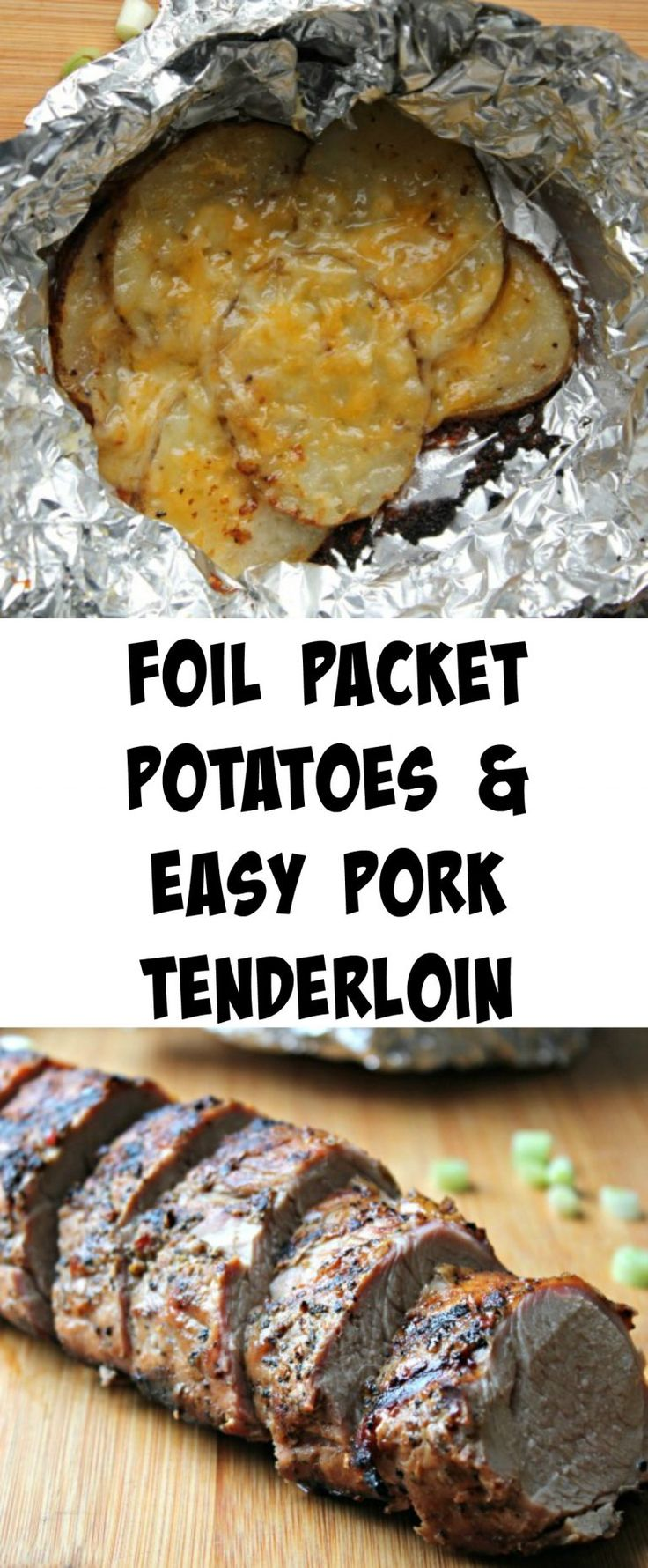 Grilling a meal has never been easier w/ these Foil Packet Potatoes w easy pork tenderloin!  The pork is already marinated so all you have to do is cook it.  Dinner ready in about 30 minutes!  #RealFlavorRealFast #ad @smithfieldfoods @walmart