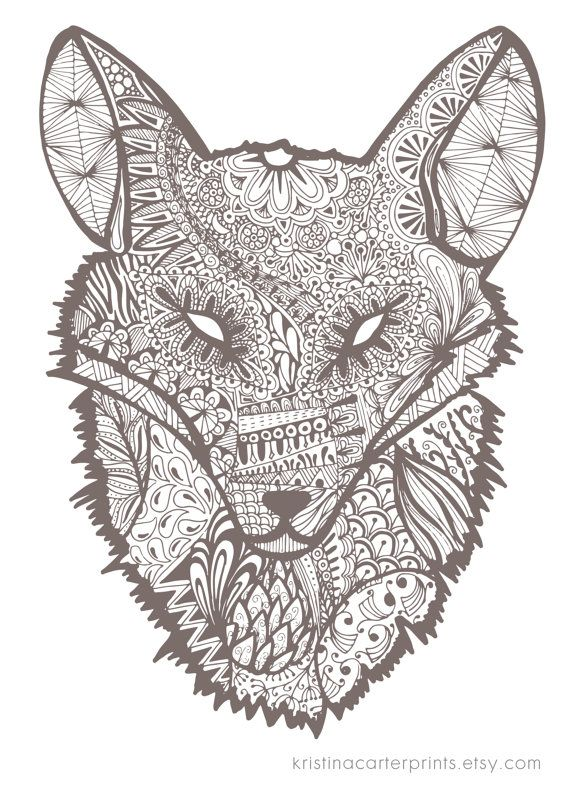 Fox art by kristinacarterprints on etsy drawings for Grey wolf coloring pages