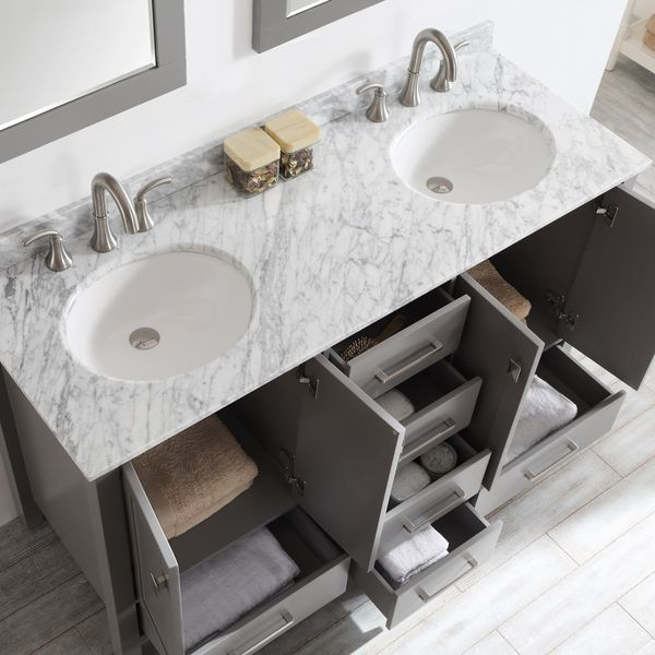 Gela 60-inch Grey Double Vanity with Carrera White Marble Top with Mirror