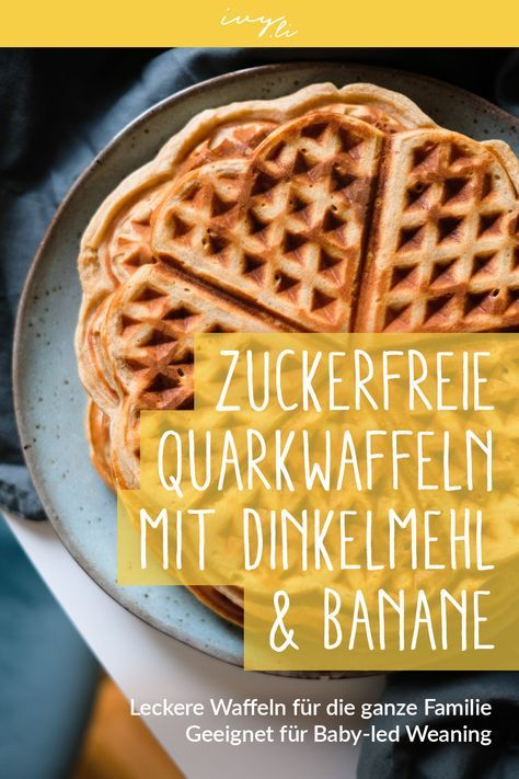 Sugar-free quark waffles with spelled flour and banana | Recipe for the family table   – Frühstuck