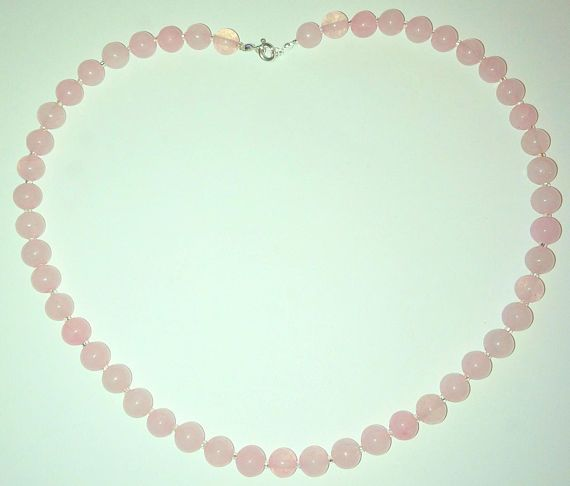 Handgemaakte licht rose rose quartz edelsteen kralen ketting misscitizenjewelry