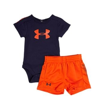 Under Armour® Infant Boy HeatGear® Side Logo Short Set #VonMaur #UnderArmour #Orange #Outfit