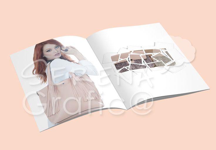 Progettazione, realizzazione della grafica e impaginazione del catalogo. Prodotto stampato su A4, shooting con modella e prodotti (borse) collezione Lookat Primavera 2016/2017.