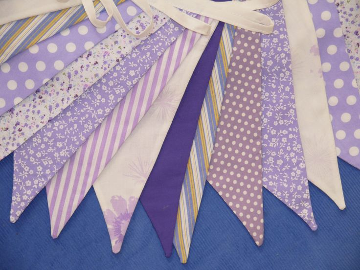 33ft DOUBLE SIDED Fabric Bunting Shabby Vintage Chic CADBURY PURPLE Wedding
