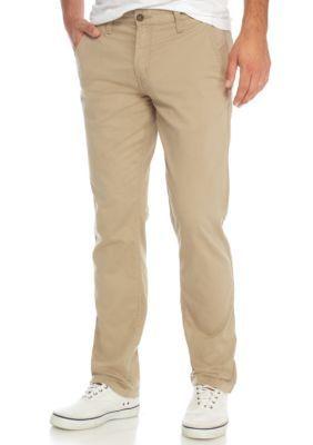 True Craft Men's Stretch Straight Twill Chino Khaki Pants - Medium Beige/Khaki - 32 30