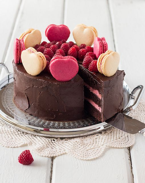 Chocolate Raspberry Layer Cake with Macarons by raspberri cupcakes