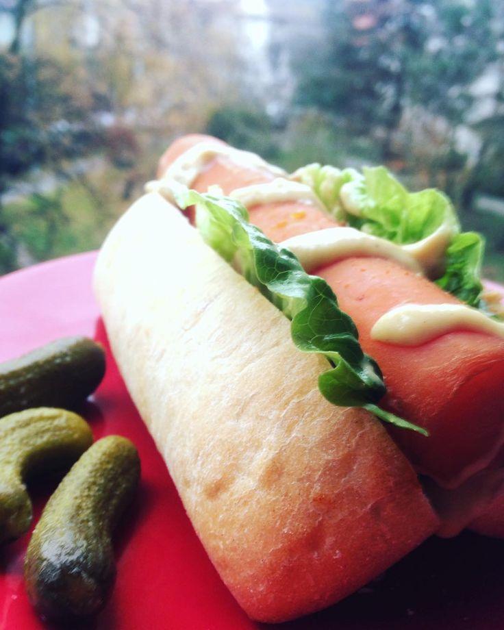 #carrotdog #vegan #breakfast #salad #cucomber #baget Dobrý ráno!Zkouším nakládat vařený mrkve v marinádě, mrkev v rohlíku je prostě mňam !#klubkovari