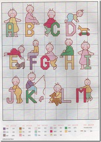 Graphics-cross-stitch alphabet Abecedario child-monogram-child