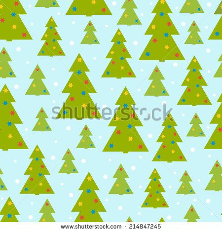 Vector seamless pattern of christmas tree on a blue background - stock vector
