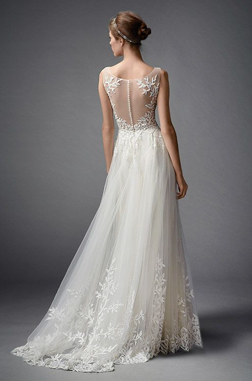 Will you say yes to this romantic Watters wedding dress with breathtaking illusion back detail? Click to check out the beautiful front look: http://www.colincowieweddings.com/wedding-dresses/watters-fall-2015/complete/fullsize/14