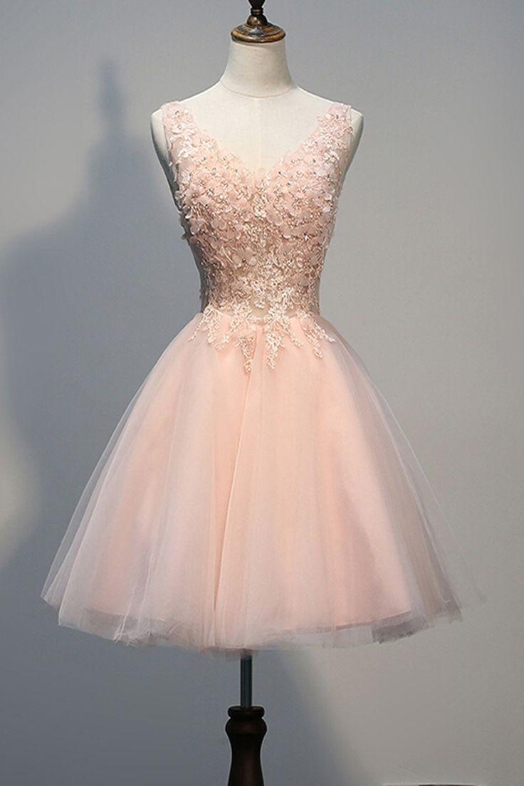 Ball V Neck Short Blush Pink Tulle Applique Beaded Prom Dress