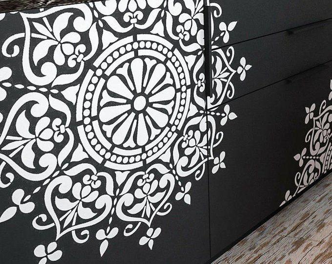 118cm Pochoir R/éutilisable en plastique //// Africain Mandala //// Mod/èle de peinture //// D/écoration murale