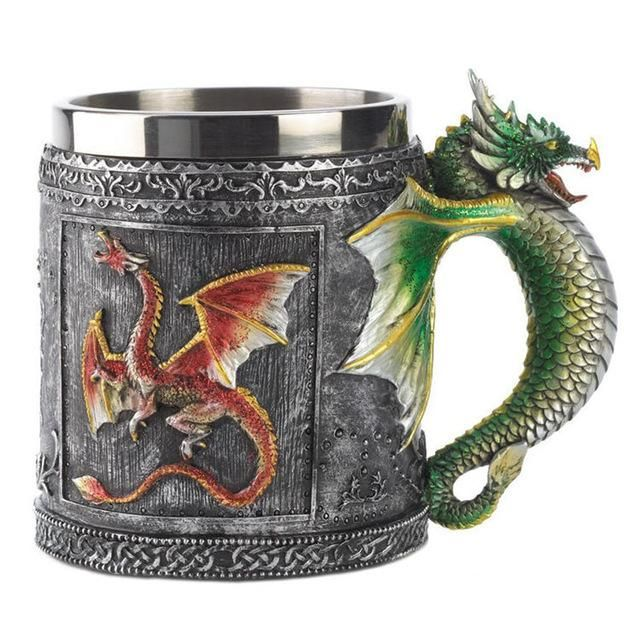 3D Dragon Resin Stainless Steel Mug