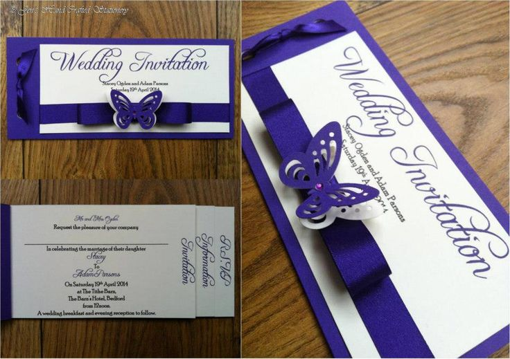 Cadbury Purple Wedding Invitations: Cadburys Purple Butterfly Wedding Cheque Book Invitation